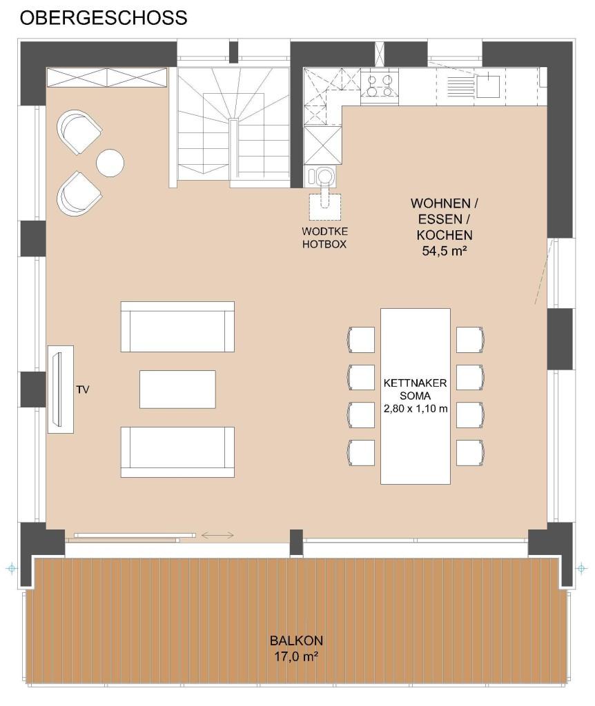 Grundriss Obergeschoss: grosser Wohn-Essbereich + Küche 55 qm, bodentiefe Fenster Süd